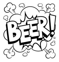 beer word comic book coloring vector image
