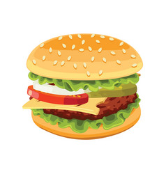 Big burger white delicious fast food vector
