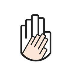 black line hand symbol holding smaller hand sign vector image