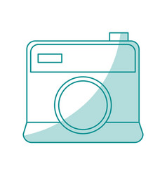 Blue shading silhouette cartoon analog camera with vector
