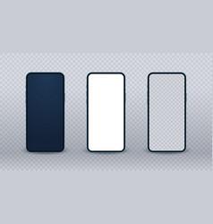 blue smartphone mockup realistic mobile phone set vector image