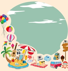 Border design with beach objects vector