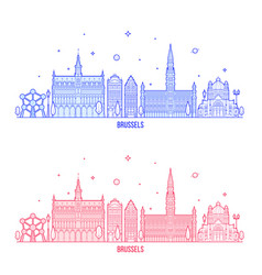 brussels skyline belgium city buildings vector image