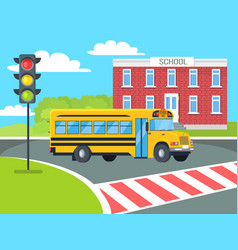 bus stops before pedestrian near school building vector image
