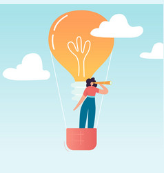 business woman flying air balloon with light bulb vector image
