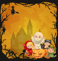 cartoon children in mystery costumes flat poster vector image