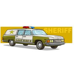 Cartoon green sheriff retro car with golden badge vector