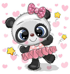 Cartoon panda ballerina on a hearts background vector