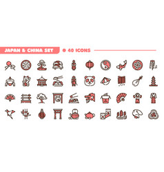China and japan color linear icons set vector