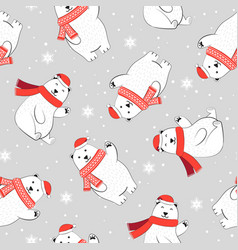 christmas seamless pattern with polar bear vector image