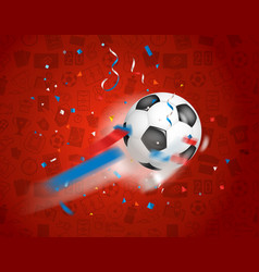 Classic soccer ball flying to the net football vector