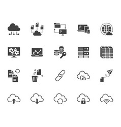 cloud data storage flat glyph icons set database vector image
