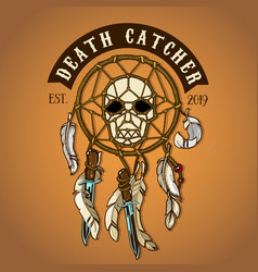 colored biker skull death catcher logo vector image