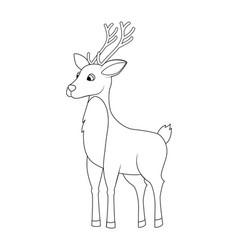 colorless funny cartoon reindeer vector image