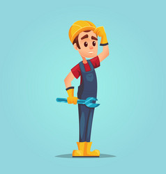 confused caucasian builder with adjustable wrench vector image