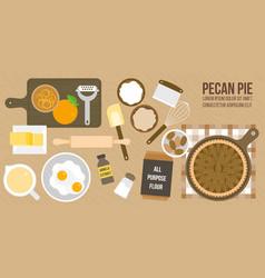 Cooking pecan pie poster vector