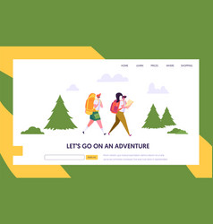 couple tourist character with backpack go hiking vector image
