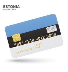 Credit card with Estonia flag background for bank vector