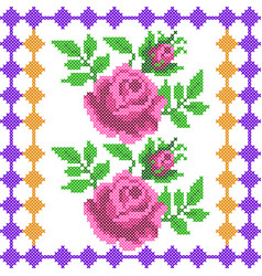 Cross stitch embroidery rose floral design for vector