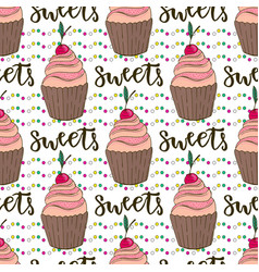 Cupcakes seamless pattern doodle background with vector
