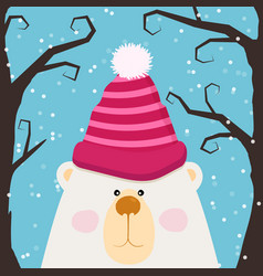 cute teddy bear in cap and pink cheeks vector image