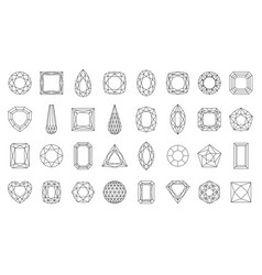 Diamond gem jewel gemstone line icon set vector