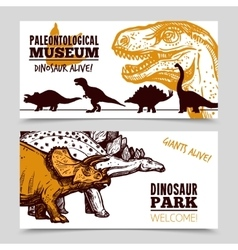 Dinosaurs museum exposition 2 banners set vector