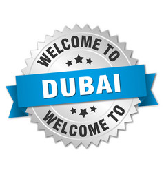 Dubai 3d silver badge with blue ribbon vector