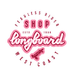 emblem with lettering for longboard shop vector image