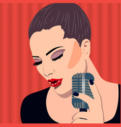Female karaoke singer with microphone in the hand vector