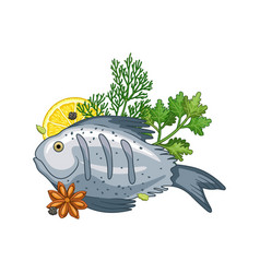 Fish dish with spices vector