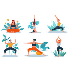 Fitness women doing yoga and fitness exercise vector
