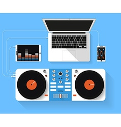 Flat design of dj workspace Top view of des vector