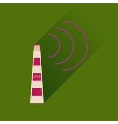 Flat icon with long shadow wi fi tower vector