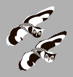 flying two owls pair of stylized black white owls vector image