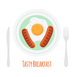 Fried sausages scrambled egg tasty breakfast vector