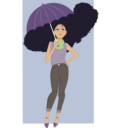 Frizzy hair in rain vector image