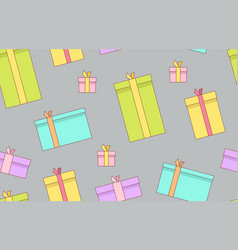 gift boxes presents surprises seamless pattern vector image