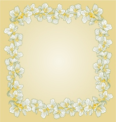 Golden frame with Jasmine greeting card vector