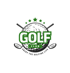 golf sport icon with crossed clubs and ball vector image