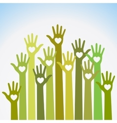 Green caring up Volunteers hands hearts icon vector