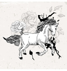Hand drawn monochrome sketch horse vector