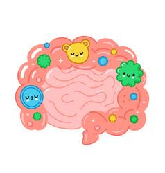 Healthy intestine organ with good bacterias vector