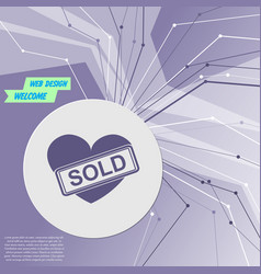 heart icon on purple abstract modern background vector image