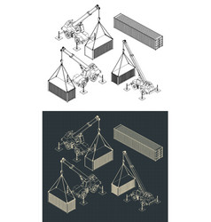 Heavy equipment and logistics isometric set vector