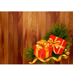 Holiday retro background with christmas tree vector image vector image