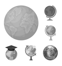 Isolated object of globe and world symbol set of vector