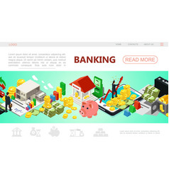 Isometric banking web page template vector