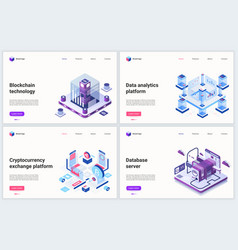 isometric blockchain cryptocurrency mining vector image