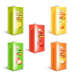 Juice box packaging 3d realistic set vector